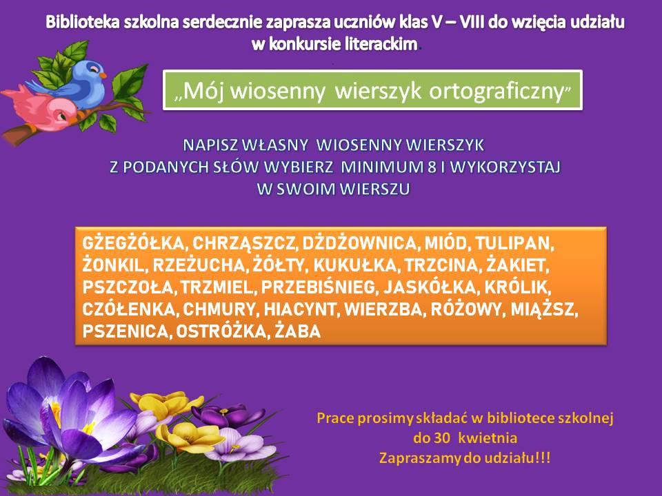 Konkurs - wierszyk wiosenny
