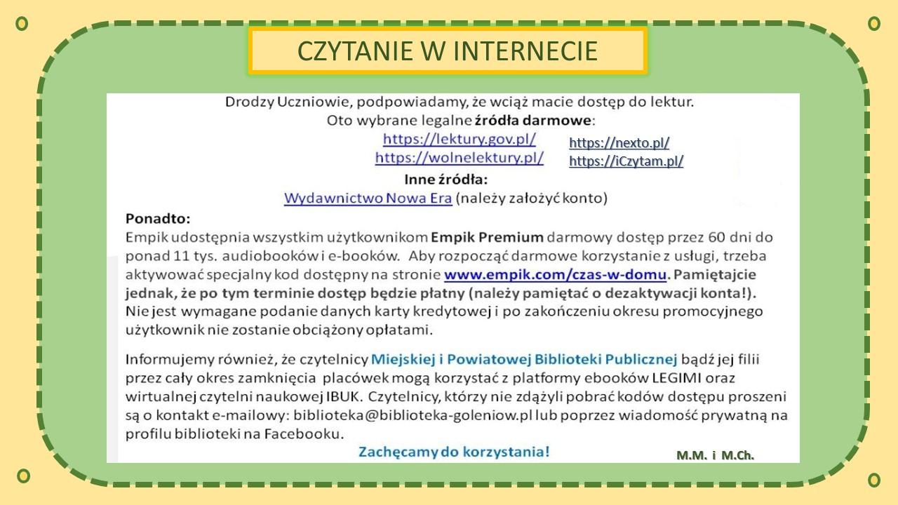 Czytaj w Internecie