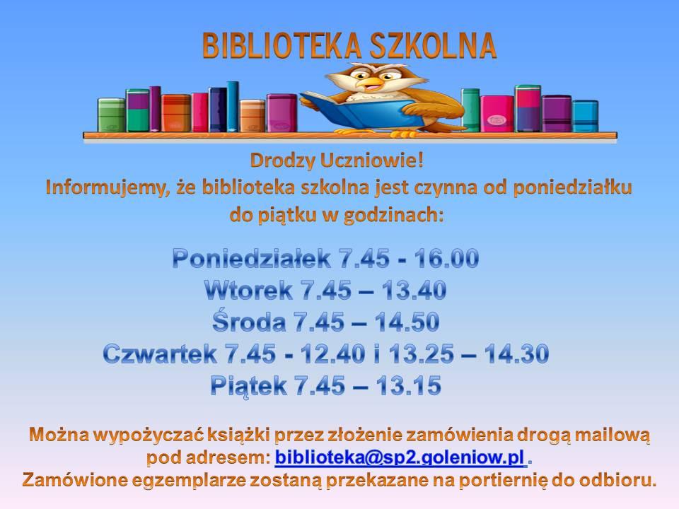 Godziny otwarcia biblioteki szkolnej