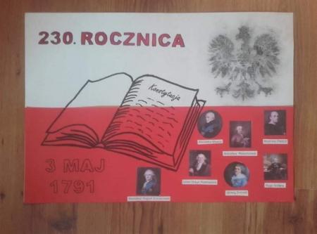 230. rocznica uchwalenia Konstytucji 3 Maja na lekcjach plastyki w klasach 7.